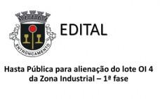 Hasta Pública para alienação do Lote OI 4 da Zona Industrial - 1ª fase