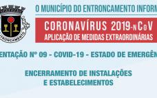 Orientação nº 9 | Medidas Extraordinárias de resposta à epidemia do novo Coronavírus - Encerramento de Instalações e Estabelecimentos